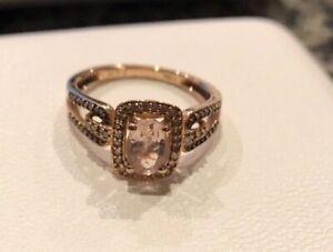 10k Rose Gold Morganite Anniv White & Champagne Diamond Halo Ring Engagement NEW