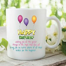 Happy Birthday Mug Wishing Great Happiness Quote in Life Cup Work Gift WSDMUG217