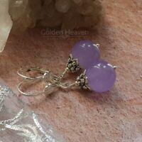 Lavender Lilac Light Purple Jade Round Dangle Earrings Silver Jewelry women