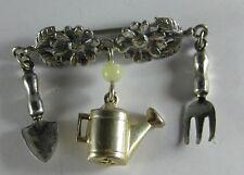Vintage GREAT FALLS METAL WORKS Gardner Tools Flower Sterling Silver Pin Brooch