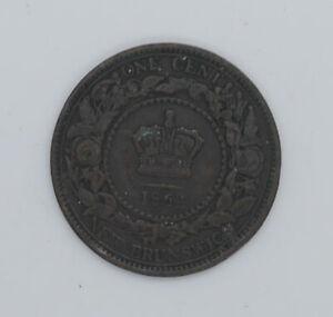 1864 New Brunswick One cent coin Small VF-20 condition