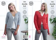 King Cole Ladies Double Knitting Pattern Long or 3/4 Raglan Sleeve Cardigan 5024