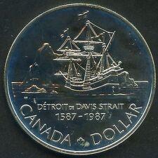 "1987 Canada Unc "" Davis Strait 400th "" Silver Dollar (23.3 Grams .500 Silver)"