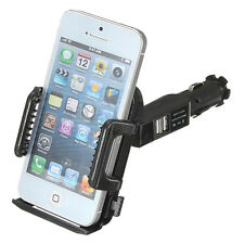 Dual USB 2 Port Car Cigarette Lighter Charger Mount Holder for cell phone N6O4