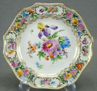 Carl Thieme Dresden Hand Painted Reticulated Floral & Gold Bread Plate J