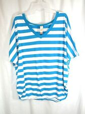 No Boundaries Top Sz 3X 22 24 Blue White Striped Pull Over V Neck Gathered Sides