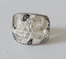 925 STERLING SILVER BULKY MARCASITE RING size M  (everyday wear)