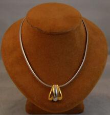 14K White Gold 16 in 4mm Omega Necklace w/ 14K White & Gold Slide Pendant 18+ gr