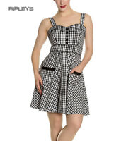 Hell Bunny Rockabilly Mini Dress Pin Up BRIDGET Black White Gingham All Sizes