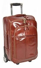 Genuine Leather Cabin Suitcase Hand Luggage Business Bag on Wheels Cognac