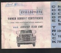 Dodge Truck Models 100 to 700 Owner Service Certificate 1965