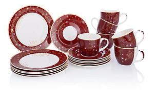 Kaffeeservice Service Weihnachtsgeschirr Sterne New Bone Rotbraun Gold 18 tlg