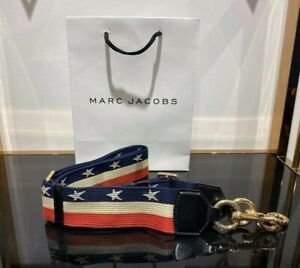 Marc Jacobs STARS AND STRIPES WEBBING STRAP Gold for Snapshot camera bag 100%
