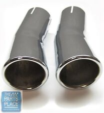 "1969 Pontiac GTO Exhaust Tips Extensions  2.25""  Pair - OEM Chrome"