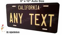 California Black  License Plate, ANY TEXT, VANITY, EMBOSSED LOOK 6 X 12 AUTO