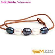 """Women Jewelry 9-10mm 5 Pearls Strand Brown Rope Necklace Adjustable Size 17.5"""""""