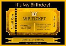 10 Personalised VIP Gold & Black Ticket Birthday Party Invitations Girls Boys
