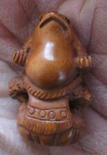 Tiny Netsuke Frog, Superbly Carved Boxwood