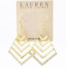 NEW  LAUREN Ralph Lauren Gold-Tone Openwork Pave Crystal Chandelier Earrings $58