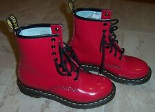 New DOC DR MARTENS AIRWAIR SHINY RED PATENT LACEUP BOOTS WOMENS 8.5 1460