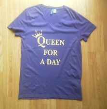 QUEEN FOR A DAY T-shirt in gold queens crown on Purple V neck jersey