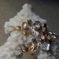 äthiopien crystal opal  orchideen blüten ohrringe, 925 silber + teilvergoldet