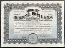 KIMBERLY CONSOLIDATED MINES CO. Stock 1912. Hilltop, Lander County, Nevada. VF++
