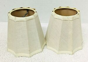 "2 Chandelier Lampshade Cream Taupe Linen 4"" Candlestick Size Shade"