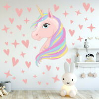 Removable Wall Stickers Fairy Unicorn Lovely Hearts Dots Girls Kids Room Decor
