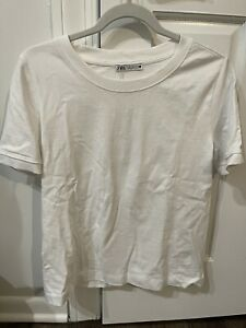 Zara White Basic T-Shirt/Top Short Sleeves Size L NWT