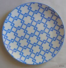"Dinner  Plate French Blue and White  8.5"" White Barn Lattice Pattern"