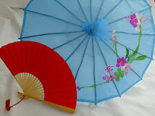 JAPANESE S BLUE PARASOL RED PAPER HAND FAN CHINESE UMBRELLA WEDDING GIRL PARTY