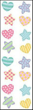 Mrs. Grossman's Stickers - Chubby Hearts and Stars - Pastel Colors - 4 Strips