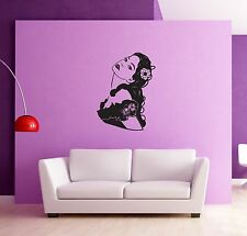 Wall Stickers Woman Girl Flower in Hair Modern Decor for Bedroom z1301