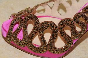 Christian Louboutin Rose Marron Strass Dorado 120 Chaussures Cristaux 40.5 10