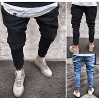 9a80b4aadc5bca Men Pant Mid-Rise Skinny Slim Fit Jeans Denim Trousers Jogging Joggers 30