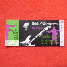 Ritchie Blackmore Rainbow Unused Concert Ticket Vorst Nationaal November 1995