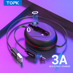 Topk 3 IN 1 Magnetic Retractable Fast Charging Cable for Micro Type C iPhone