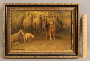 1935 Antique FRANCIS WHEATON Oil Painting, Border Collie Sheep & Lamb, NR