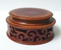 Petit socle rond en bois sculpté pour vase ou statuette Chine China