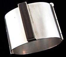 Vtg Wide Mid-Century Modernist Sterling Silver 925 Exotic Wood Bracelet CUFF