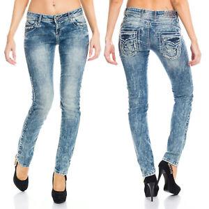 Cipo & Baxx Jeans Damen Dicke Nähte Hose Used Women Pants Blau W27/L34 Low Waist