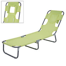 Chaise longue de jardin HWC-B11, fonction position sur le ventre, tissu ~ vert