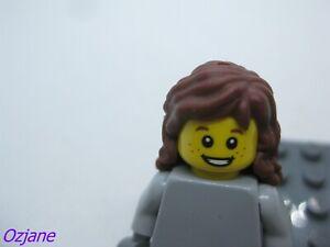 LEGO PART 92256 REDDISH BROWN MINI DOLL HAIR FRIENDS LONG WAVY
