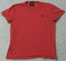 Abercrombie & Fitch Red T-Shirt Top Cotton Crewneck Man's Solid Size Large Men's