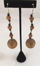 Wooden Block Earrings Beads Women's Fashion Brown 3.5""