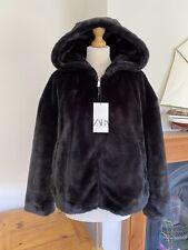 Zara Black Faux Fur Hooded Zip Up Jacket Coat , Size XXL UK18 # P7
