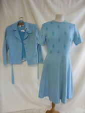 Ladies Outfit - Rembrandt, size 16, turquoise, dress/jacket, worn/marks - 7564
