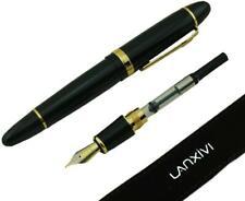 Jinhao 159 Fountain Pen Medium Black Lacquer Gold Trim Big Heavy with Pen Pouch