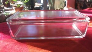 Vintage  Depression Glass Art Deco Glass Butter cheese Dish with Cover